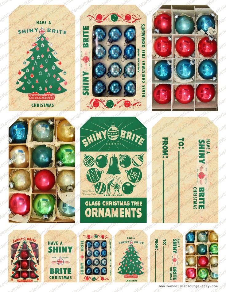 digital Christmas gift tags - Instant Download    Shiny Brite vintage Christmas ornament gift tags  There are two sizes:  2.5 x 4 inches  1.25 x 2 inches  Upon receipt of payment you will be able to immediately download the collage sheet as a high resolution jpeg file (300 dpi) ready to be printed. The collage sheet is sized for 8.5x11 inch paper. Watermark will not appear in the purchased collage sheet.  Please see my profile page for Terms of Use.  Thank you!