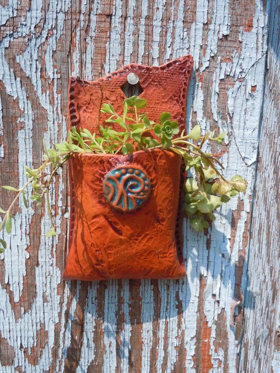 Ceramic Leather Pouch Wall Pocket