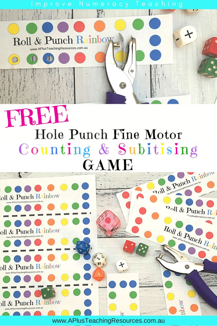 As always we like to create a little something for FREE for our FANS! Our FREE Roll & Punch a Rainbow Game will help your students build their fine motor skills, subitise, and count! Grab this FREE Math Game On our Website! #math #teaching