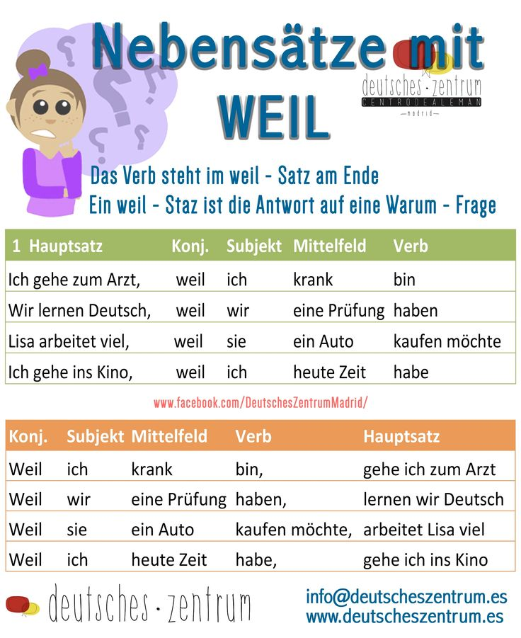 Nebensätze mit WEIL Deutsch Wortschatz Grammatik German Alemán DAF
