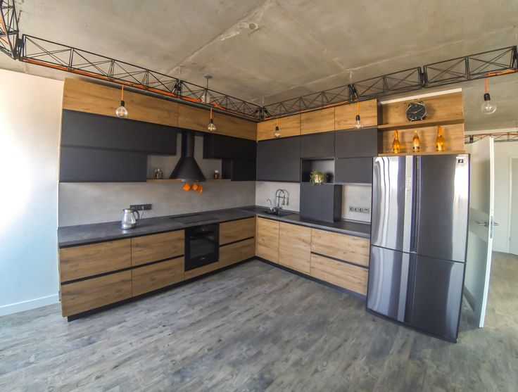 Kitchen loft wood black
