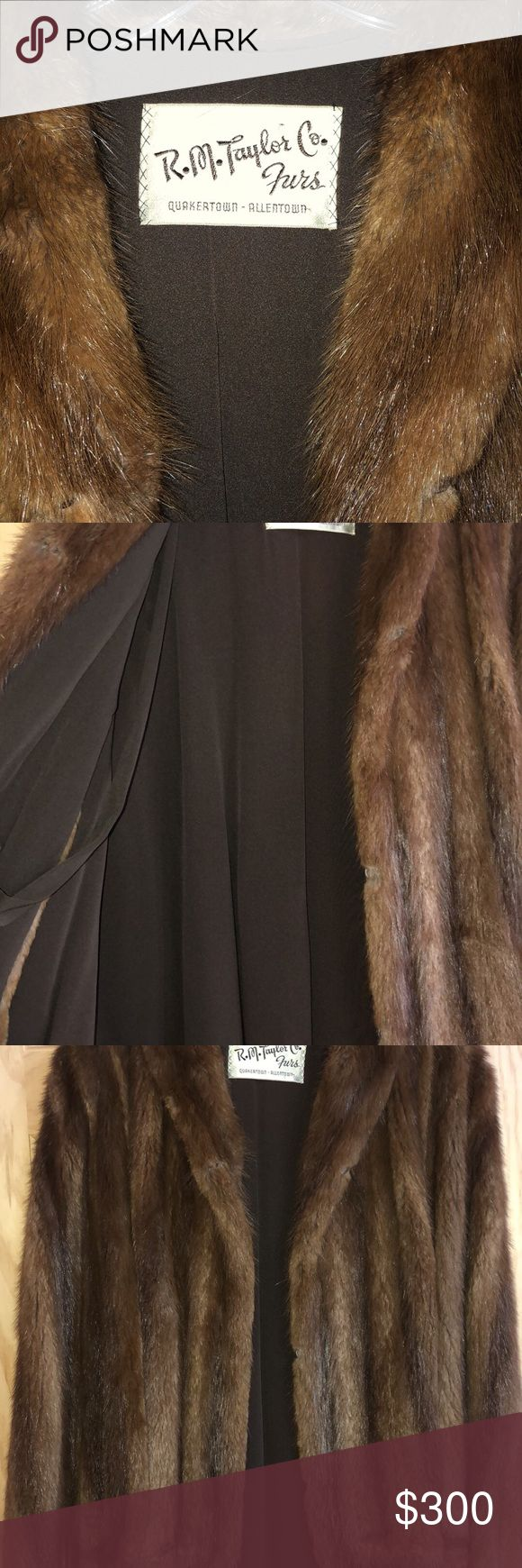 R. M. Taylor & co. Brown genuine fur coat. Genuine fur cape style coat. Great condition nicely kept. Has hook and loop closure and pop-able collar. Soft and very warm. Look luxurious and classy. Would fit a size M-XL R.M. Taylor &Co. Jackets & Coats Capes