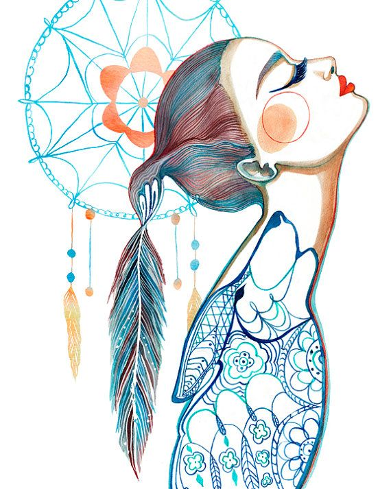PRINT / Dreamcatcher Art / Wolf/ Feathers by BellaAndBunny on Etsy, $28.00 I honestly have never seen an illustration quite like this one. This definitely has its own style. Very interesting and it lots of different things going on at once.
