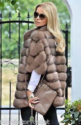 NEW 2016 NATURAL TORTORA RUSSIAN SABLE FUR JACKET CLASS COAT CHINCHILLA MINK FOX