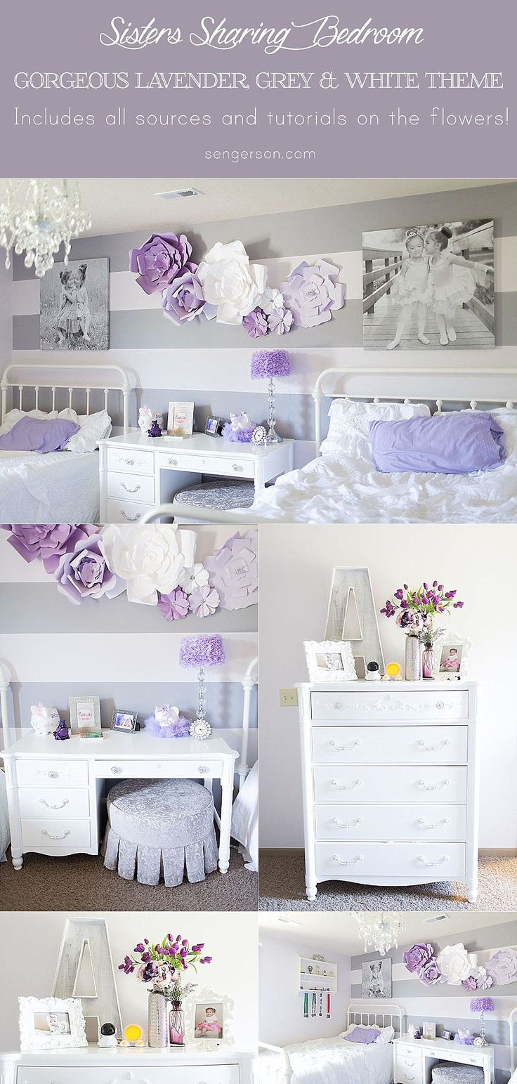 Shared bedroom for sisters - gorgeous purple theme with grey and white! Love the flowers on the wall!! The pictures above the bed are so cute!! Loving the ottoman as a chair for the desk as well. Loving the wrought iron beds. The sources are also included in the blog post!