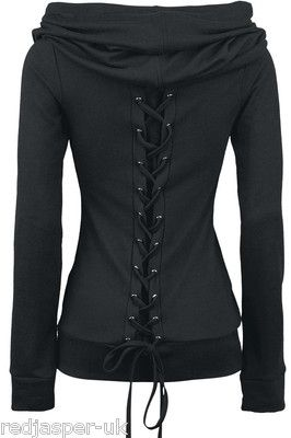 POIZEN INDUSTRIES REST TOP VIXXSIN BLACK GOTH EMO PUNK LACED UP BACK