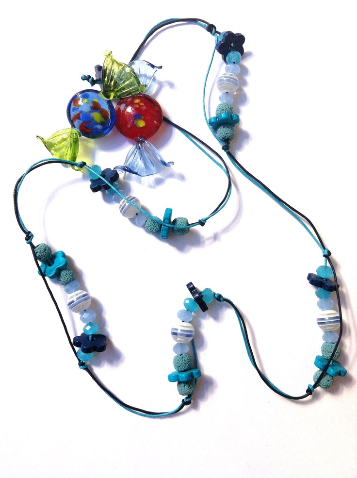 Blue beaded necklace  (made to order). $25.00, via Etsy.