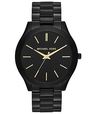 Michael Kors Watch, Women's Slim Runway Black-Tone Stainless Steel Bracelet 42mm MK3221