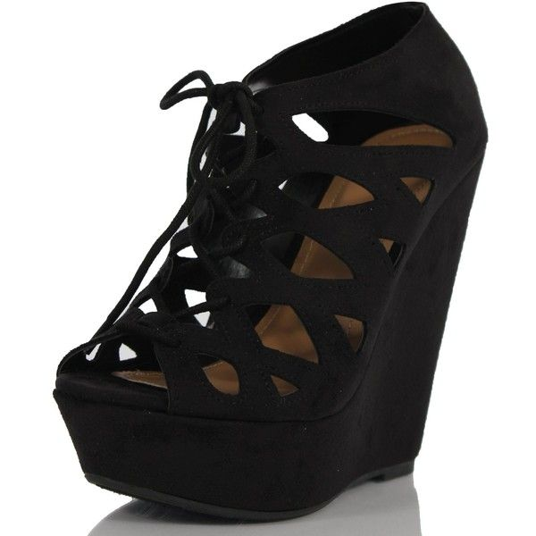 Black Cutout Faux Suede Lace-Up Platform Wedge Heels Getty ($22) ❤ liked on Polyvore featuring shoes, heels, wedges, zapatos, black laced shoes, kohl shoes, wedge heel platform shoes, black shoes and black lace up shoes