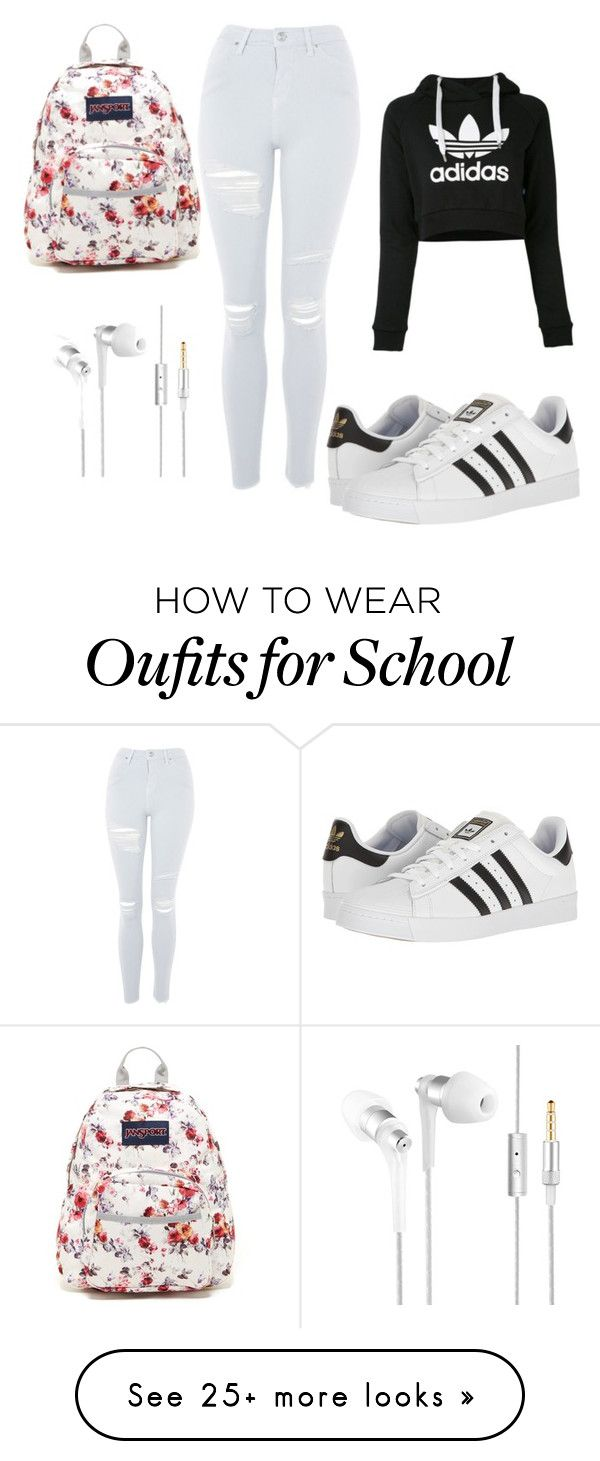 """""""School"""" by amelia-spiteri on Polyvore featuring adidas, Topshop and JanSport"""