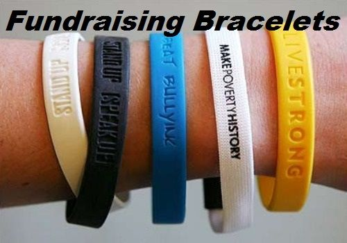 FundraiserHelp.com: Fundraising Bracelets - Another easy fundraiser product to sell are fundraising bracelets, the popular custom silicone bracelets that come in a variety of colors. Its easy to have your group's slogan or fundraising cause embossed on these fundraiser wristbands that are popular with children, teens and adults.