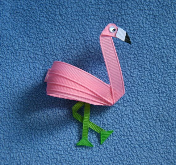 Flamingo Hair Clip Ribbon Sculpture Pink by CelticTideCreations, $5.50