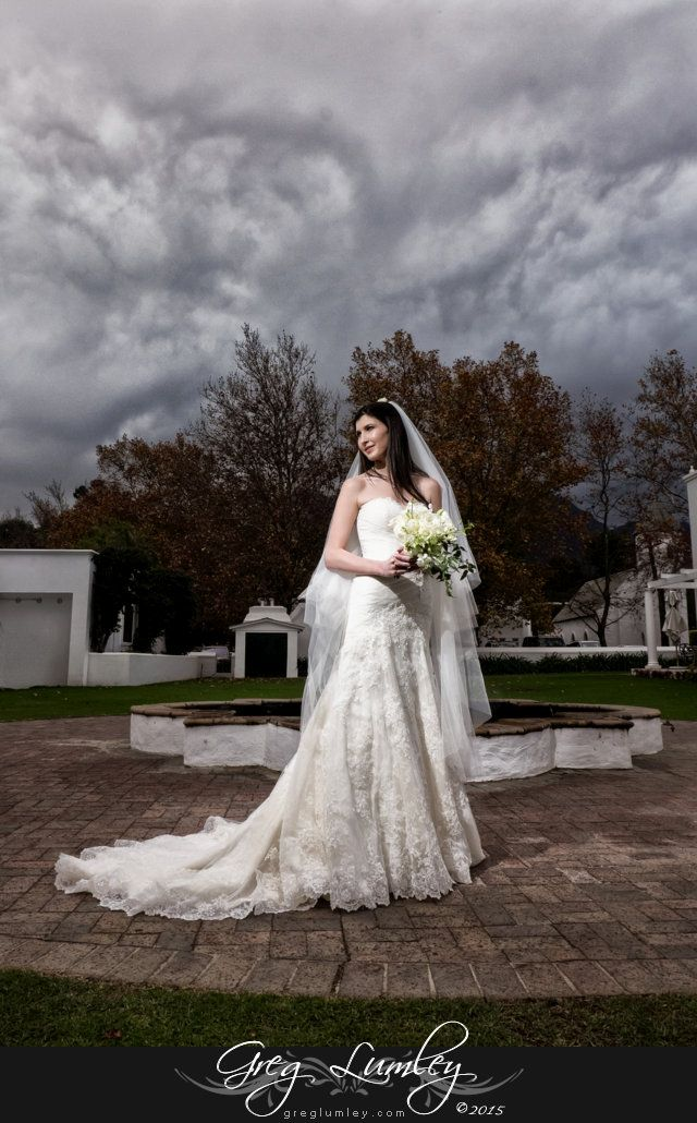 Bride poses with a dramatic overcast sky