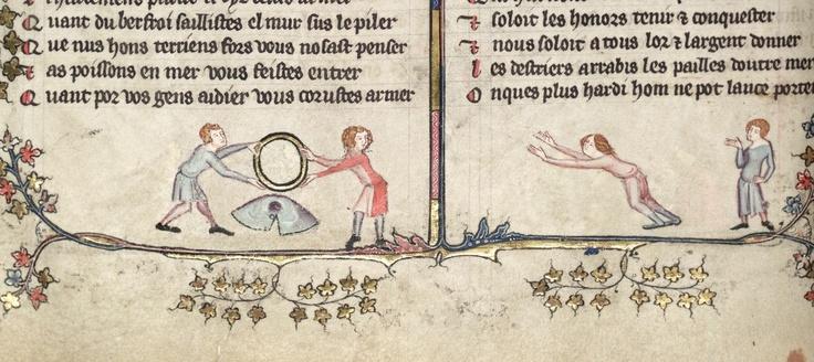 Akrobaatti hyppää renkaan läpi. Aleksanterin romanssi, 1300-luku. (Bodleian Library MS Bodley 264)