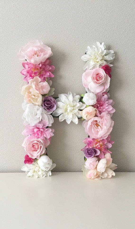 Nursery Letter Floral Letter Flower Letter Baby by BegoniaRoseCo