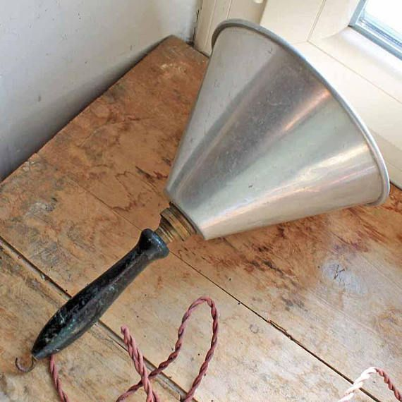 Vintage french industrial handy lamp with wood handle
