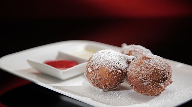 Bombolini with Raspberry Coulis and Crème Anglaise