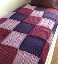 Knitting Pattern for Easy Patchwork Trio Afghan