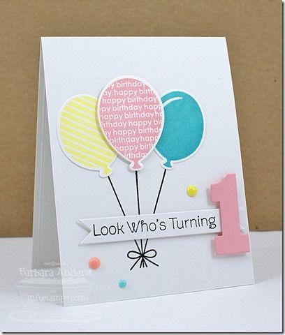 Party Balloons; By the Numbers Die-namics and Stamp Set; Big Numbrs Die-namics; Fishtail Flags STAX Die-namics; Happy Birthday Die-namics - Barbara Anders