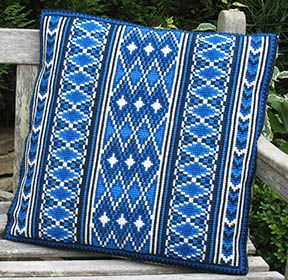 Our Morocco Stripe in Mediteranean  blues inspired by North African Kilim designs -a favorite pattern of our customers - perhaps a reminder of days spent at a fabulous exotic beach?