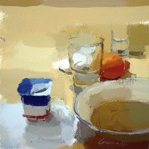 Miguel coronado.Yogurt y naranja.  25x25 cm.