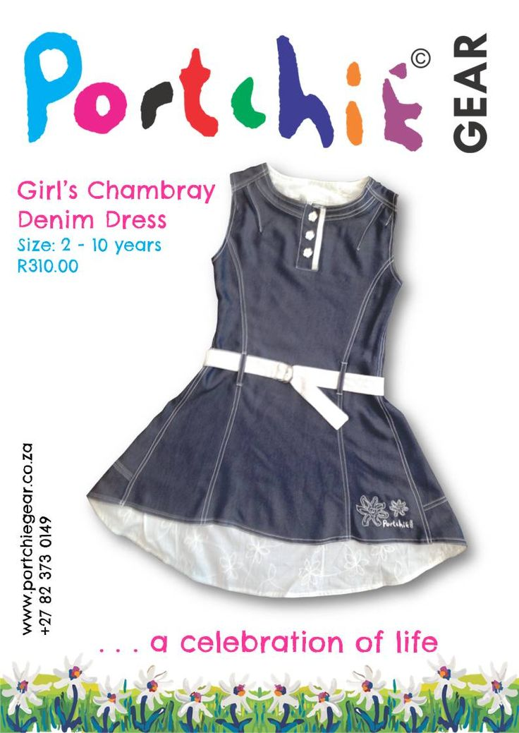 Girls #denimdress in chambray by #portchiegear - www.portchiegear.co.za