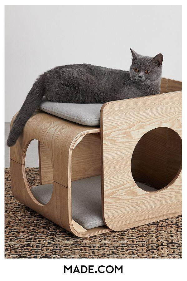 Cama Cuadrada Para Gato Kyali Fresno Natural Y Gris Camas De Gato Gatos Accesorios Castillo Para Gato