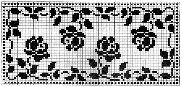 Free Printable Filet Crochet Patterns | Roses in Filet Crochet Pattern