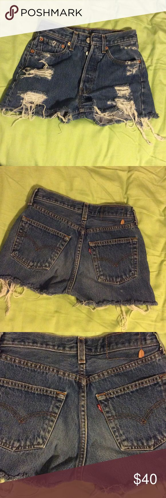 Levi cutoff jean shorts So sexy and amazing I love love these bought  them off posh and are way too small.  Prob a size 24 or 25 Levi's Shorts Jean Shorts