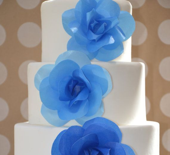 Blue Ombre Wedding Cake Wafer Paper Flower Decoration Emerald