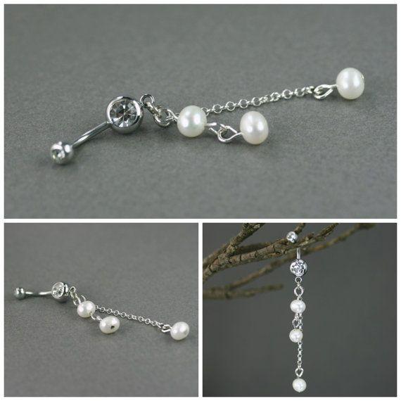 Piercing de nombril Perle blanche de nombril par Lookfashionjewelry
