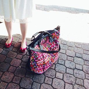 This bride is Honeymoon-ready with our Weekender bag! Hand-woven textiles and hand tooled leather, crafted by our artisan partners in Guatemala. #estrellademartravels