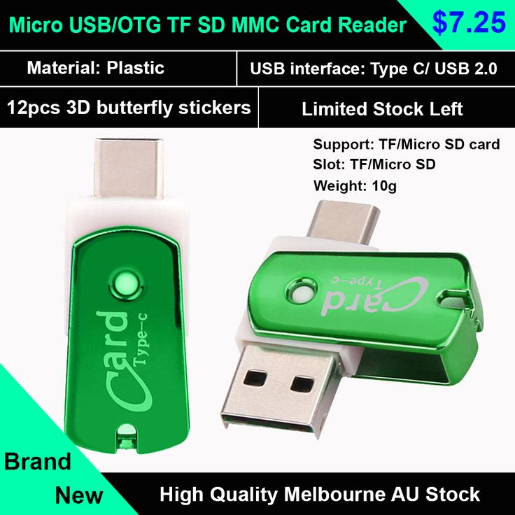 USB-C Type C/USB 3.1/Micro USB/OTG TF SD MMC Card Reader For Android Mac Pc  The compact OTG Card Reader combines Type C USB and standard USB 2.0, TF/Micro SD connectors to share files among different devices such as mobile phones
