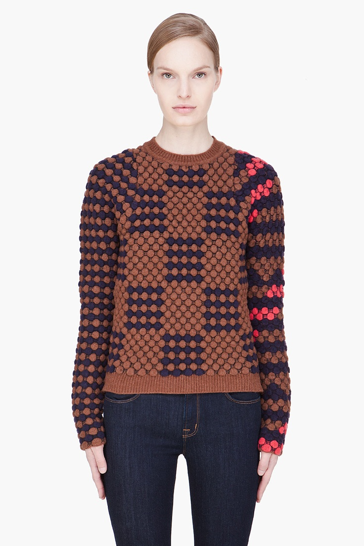 KENZO Brown combo textured sweater