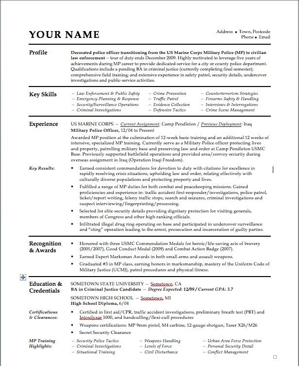 Police Officer Cv Examples Uk