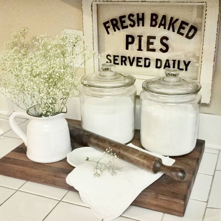 It's just about time for dinner, but I thought I'd play along with a few Wednesday hashtags real quick, so here it goes,  Sharing my cutting board, the baked pies sign and vintage rolling pin for #wednesdaywooddecor and #woodsandwhiteswednesday .  The pitcher of baby's breath because well, baby's breath is just my #obsessivebynature thing right now . It's all over our house.  My baked pies sign again for, #talkwordytomedecor and #welcomingwednesdaywritings .  And idk if the pie sign counts…