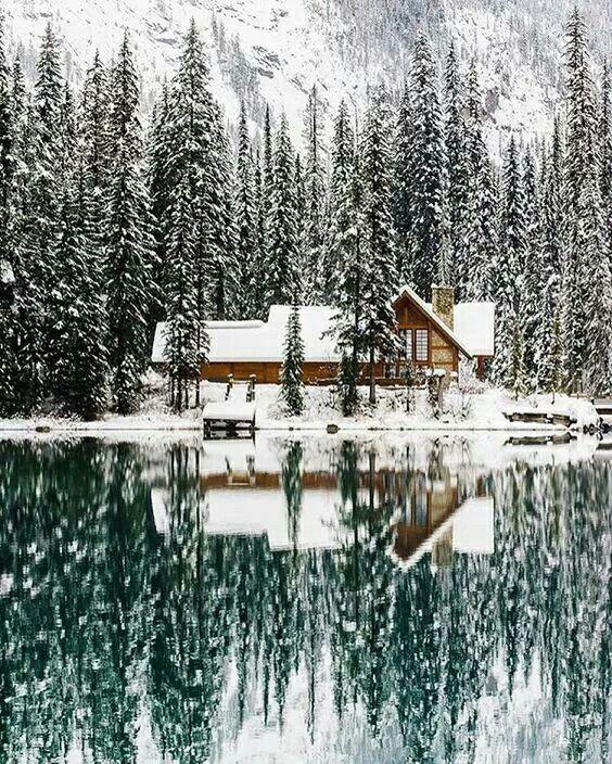 Snowy winter, cozy cabin