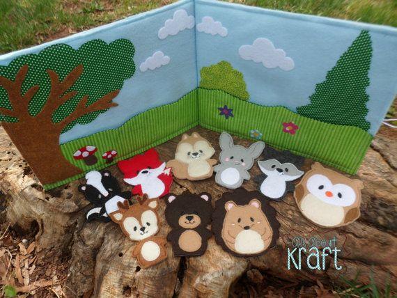 Livre de calme forêt marionnettes à doigt animaux par AllAboutKraft