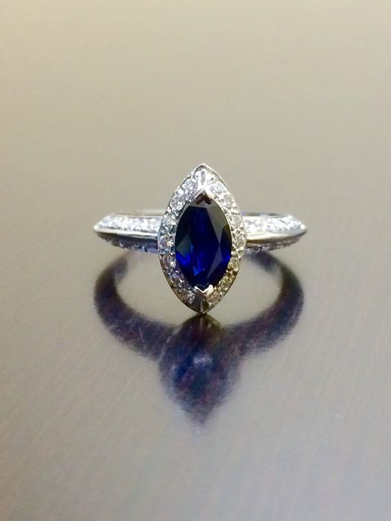 Art Deco Engagement Ring - 18K White Gold Ceylon Blue Sapphire Diamond Wedding Ring - Marquise Sapphire Ring - Halo Sapphire Diamond Ring