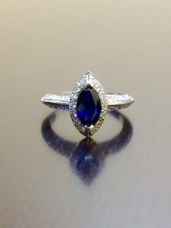 Art Deco Engagement Ring - 18K White Gold Ceylon Blue Sapphire Diamond Wedding Ring - Marquise Sapphire Ring - Halo Sapphire Diamond Ring
