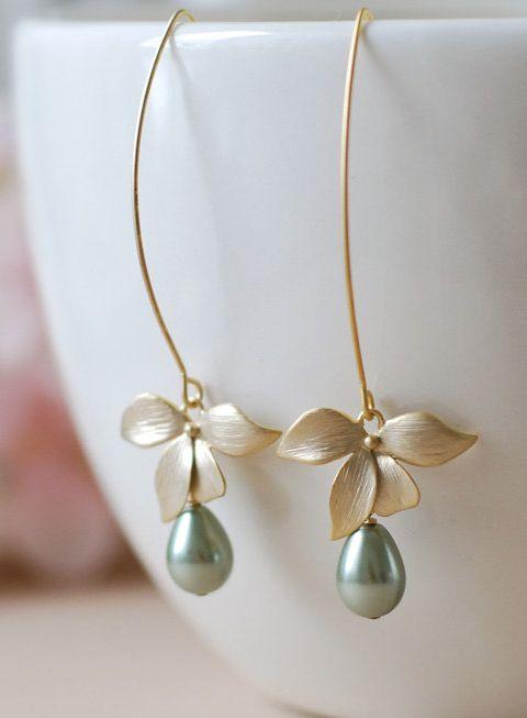Gold Flower Sage Green Pearls Earrings