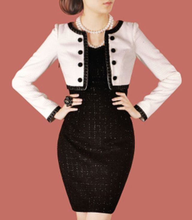 2-in-1 formal women suit dress black and white long sleeves