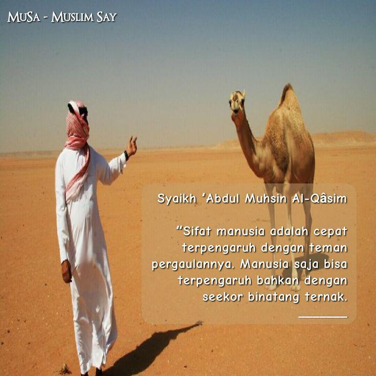 """Syaikh 'Abdul Muhsin Al-Qâsim  """"Sifat manusia adalah cepat terpengaruh dengan teman pergaulannya. Manusia saja bisa terpengaruh bahkan dengan seekor binatang ternak. _______"""