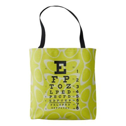 Ophthalmology Eye Chart Retro Cat Eyes Yellow Tote Bag - accessories accessory gift idea stylish unique custom