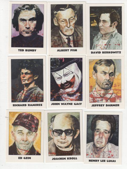 Macabre collectors cards of the most notorious Serial Killers. What kind of a world is this? Not only did these monsters exist, but trading cards?