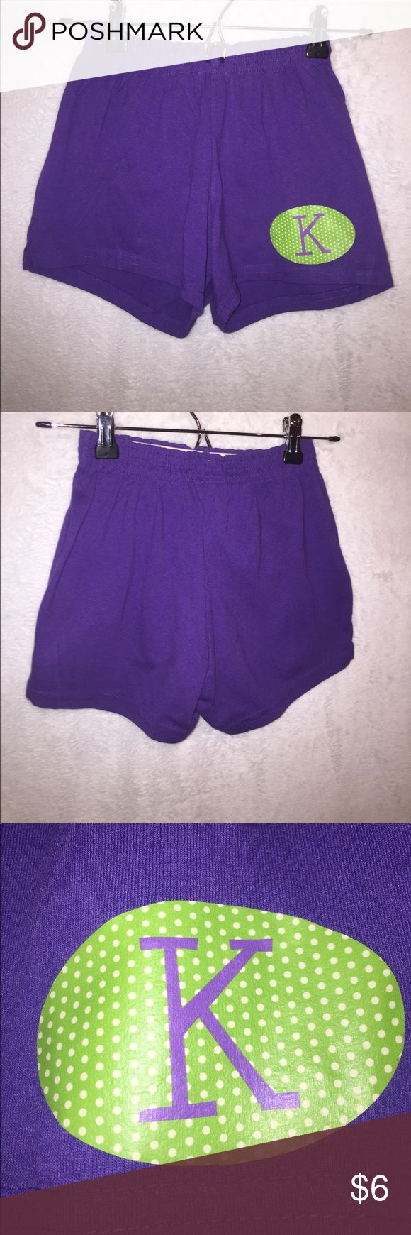 Purple Monogrammed Athletic Shorts Purple athletic shorts with monogrammed K, green oval around with white polka dots. Girls L, also fits Women's XS. From Augusta Sportswear. Excellent condition, never worn! :) Augusta Sportswear Bottoms Shorts