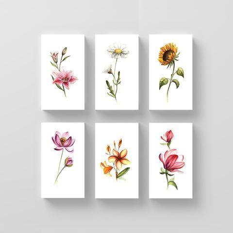 Ensemble de tatouage temporaire floral par Mini Lau (ensemble de 12)   – Resiliência tatuagem