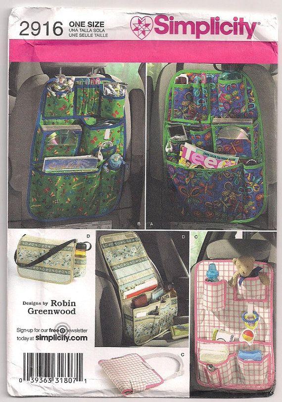 Auto-Organisatoren, Einfachheit 2916, Rücksitz-Organizer, tragen alle Shopper, Baby-Tragetasche, Tragetasche, Auto Tote, Handwerk Muster, Robin Greenwood