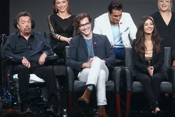 Victoria Justice Photos - (L-R Back Row) Actors Ivy Levan, Staz Nair and Annaleigh Ashford, (L-R Front Row) Tim Curry,…