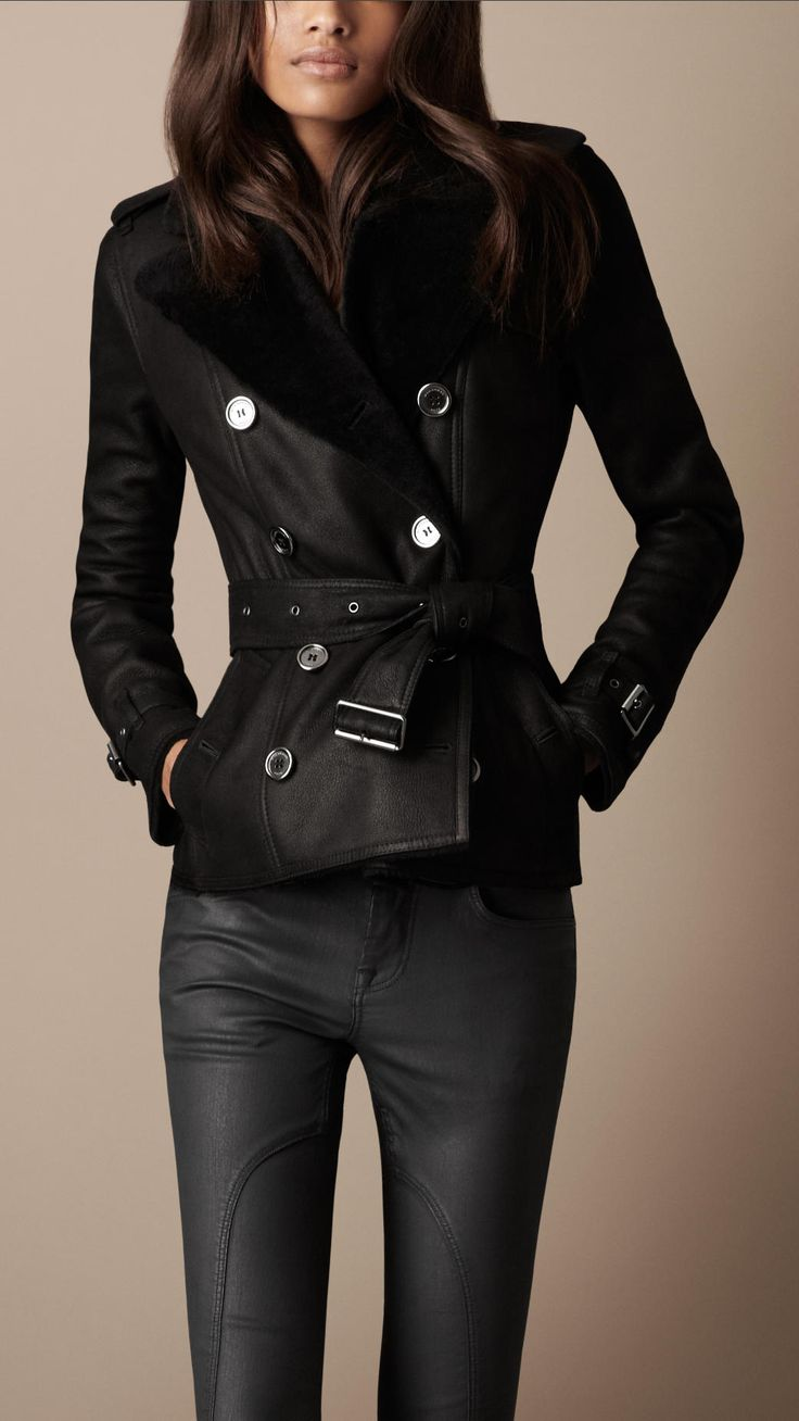Burberry Brit Cropped Shearling Trench Coat in Black